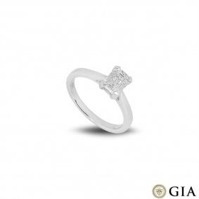 Platinum Emerald Cut Diamond Ring 1.32ct D/SI1